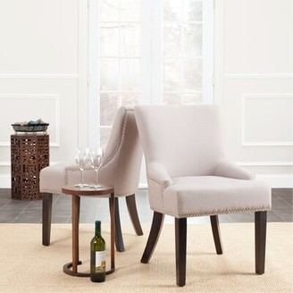 Willa Arlo Interiors Lotus Tufted Linen Upholstered Side Chair Upholstery Color: Biscuit Beige, Leg Color: Pickled Oak