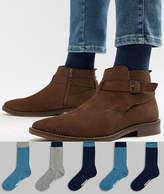 Asos DESIGN Socks In Tonal Blues & Branded Soles 5 Pack