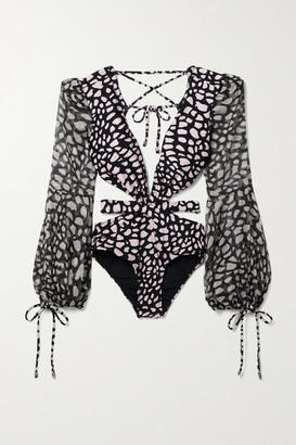 PatBO Cutout Printed Chiffon-paneled Swimsuit - Black