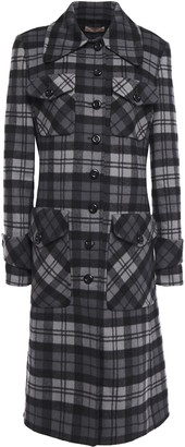 Michael Kors Checked Wool-felt Coat