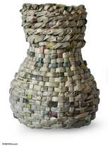 Recycled newspaper vase, 'Blossom Post'