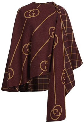 Gucci GG Windowpane Plaid Wool Cape