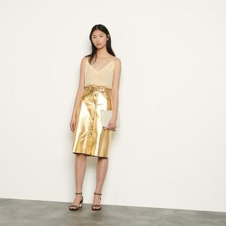 Sandro Metallic leather skirt