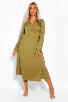 boohoo Plus Wrap Midi Belted Shirt Dress