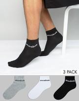 Reebok 3 Pack Ankle Socks In Multi AB5275