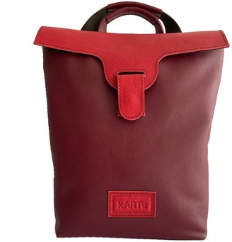 Convertible Natural Leather Backpack/Handbag Lucerne - Cherry/Red
