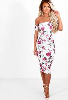 Pink Boutique Girl Next Door White Multi Floral Bardot Midi Dress