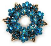 Avalaya Turquoise Coloured Crystal Wreath Brooch In Antique Metal - 4cm Diameter