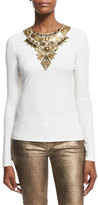 Ralph Lauren Abner Beaded Long-Sleeve Top, Ivory