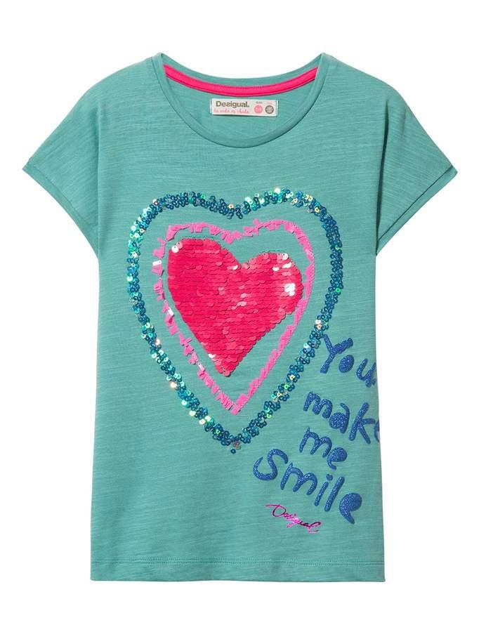 Ts/_Bismarck Desigual Girls Knit T-Shirt Short Sleeve