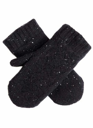Dents Women's Lace Knit Mittens CLARET ONE