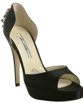 black satin 'Bolero' jeweled d'orsay pumps