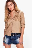 Boohoo Petite Holly Tassel Shirt