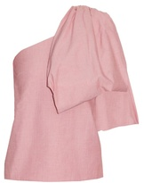 Rosie Assoulin Hustle and Bustle one-shoulder cotton top