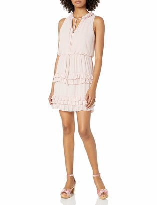 Laundry by Shelli Segal Women's Front Tie Ruffle Tiered Detail Dress