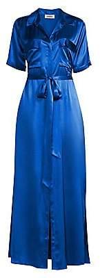 L'Agence Women's Klement Satin Maxi Shirtdress