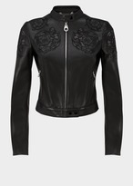 Versace Baroque Embroidered Leather Jacket