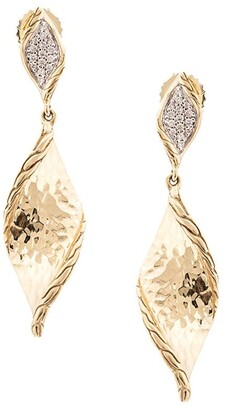 John Hardy 18kt yellow gold Classic Chain Wave Hammered diamond drop earrings