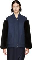 Maison Margiela Navy Fur Sleeve Bomber Jacket