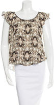 L'Agence Silk Butterfly Print Top