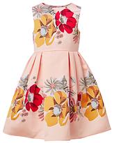 John Lewis Heirloom Collection Girls' Large Floral Print Dress, Evening Sand