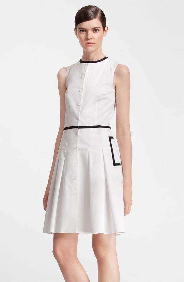 Jil Sander Navy Black Trim Stretch Cotton Dress