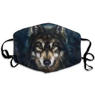 Eejiuqiba 1PC Face Bandana for Adults Wolf Printed Washable Windproof Face Cloth Reusable Breathable Dustproof Windproof Earloop Seamless Bandana Blue