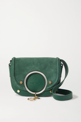 See by Chloe Mara Embellished Suede And Leather Shoulder Bag - Emerald