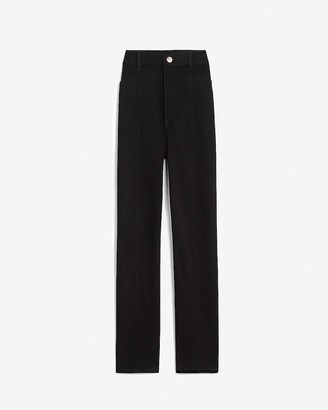 Express Super High Waisted Seamed Straight Cropped Pant