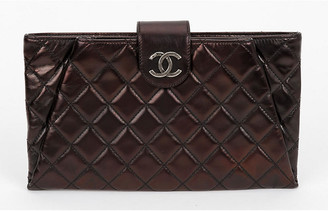 One Kings Lane Vintage Chanel Metallic Dark Zipped Clutch - Vintage Lux