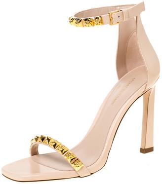 Stuart Weitzman Stuart Weitzmann Blush Pink Leather Smart Stud Embellished Ankle Strap Open Toe Sandals Size 39