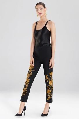 Natori Embroidered Knit Crepe Dragon Pants