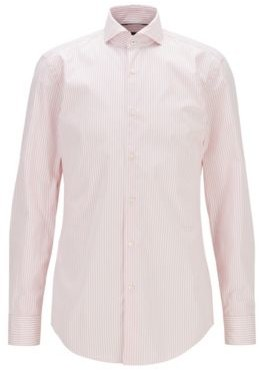 HUGO BOSS Striped Slim Fit Shirt In Washed Cotton Poplin - light pink