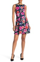 Vince Camuto Floral Sleeveless Scuba Fit & Flare Dress