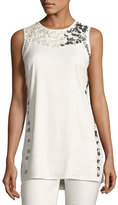 Nic+Zoe Embellished Linen-Blend Top