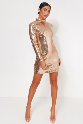 Lola Rose The Fashion Bible Gold Sequin Bodycon Mini Dress