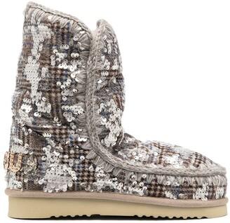 Mou Eskimo sequin-embellished tartan boots