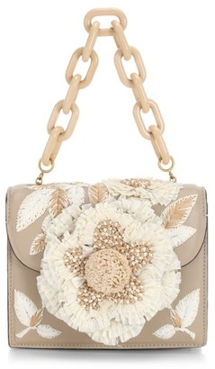 Oscar de la Renta Mini Tro Floral Raffia & Leather Top Handle Bag