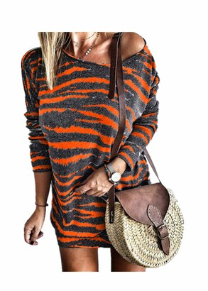 Fliegend Women Sweater Dress Oversize Jumper Striped Knit Dress Long Sleeve Winter Dress Short Elegant Dress 5XL Purple