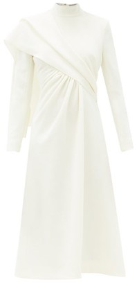 Emilia Wickstead Edris Draped High-neck Crepe Dress - Ivory