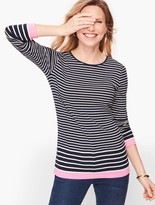 Talbots Long Sleeve Cotton Tee - Eastport Stripe