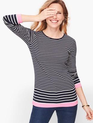 Talbots Long Sleeve Cotton Tee - Eastport Stripe
