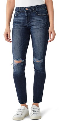 DL1961 Florence Distressed Mid Rise Skinny Jeans