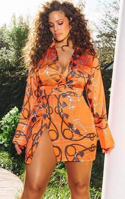 PrettyLittleThing Orange Chain Print Satin Plunge Bodycon Dress