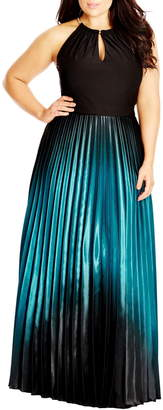 City Chic Ombre Keyhole Neck Pleat Maxi Dress