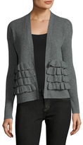Qi Cashmere Ribbed Gathered Trim Cardigan