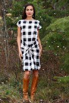 Shabby Apple B&W Plaid Noel Wrap Dress