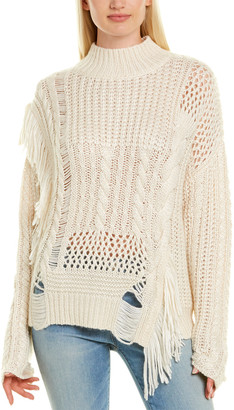 Autumn Cashmere Chunky Patchwork Fringe Silk, Wool & Cashmere-Blend Sweater