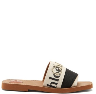 Chloé Woody Logo-embroidered Canvas Slides - Black White