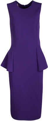 Michael Kors Grape Purple Wool Sleeveless Peplum Dress M